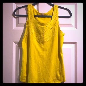 Bright mustard yellow tank with feminine detail